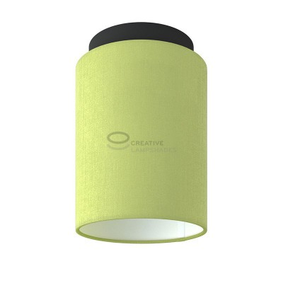 Fermaluce: wall or ceiling lightspot in black metal with Olive Green Canvas Cylinder Lampshade Ø 15 cm h18 cm