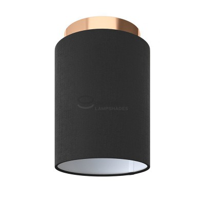 Fermaluce: wall or ceiling lightspot in copper finish metal with Black Canvas Lampshade Ø 15 cm h18 cm