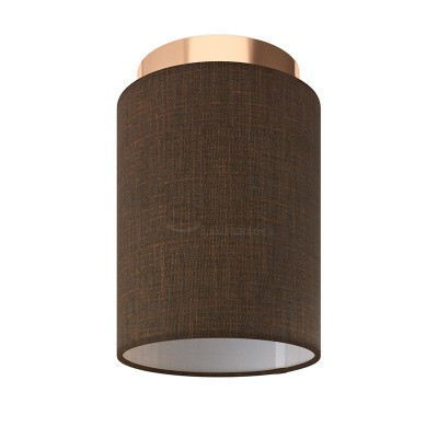 Fermaluce: wall or ceiling lightspot in copper finish metal with Brown Camelot Cylinder Lampshade Ø 15 cm h18 cm