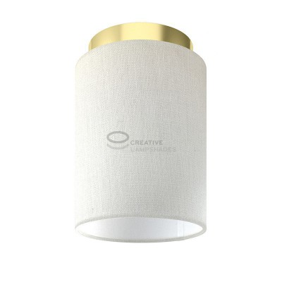 Fermaluce: wall or ceiling lightspot in brass finish metal with White Raw Cotton Cylinder Lampshade Ø 15 cm h18 cm