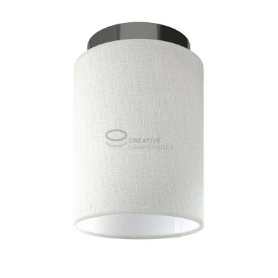 Fermaluce: wall or ceiling lightspot in black pearl metal with White Raw Cotton Cylinder Lampshade Ø 15 cm h18 cm