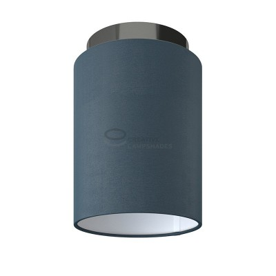 Fermaluce: wall or ceiling lightspot in black pearl metal with Petrol Blue Cinette Cylinder Lampshade Ø 15 cm h18 cm