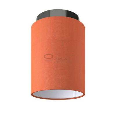 Fermaluce: wall or ceiling lightspot in black pearl metal with Lobster Cinette Cylinder Lampshade Ø 15 cm h18 cm