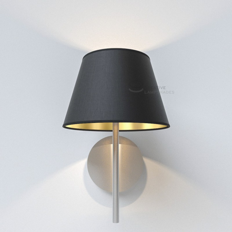 Empire Lamp Shade Black Canvas int. Gold covering