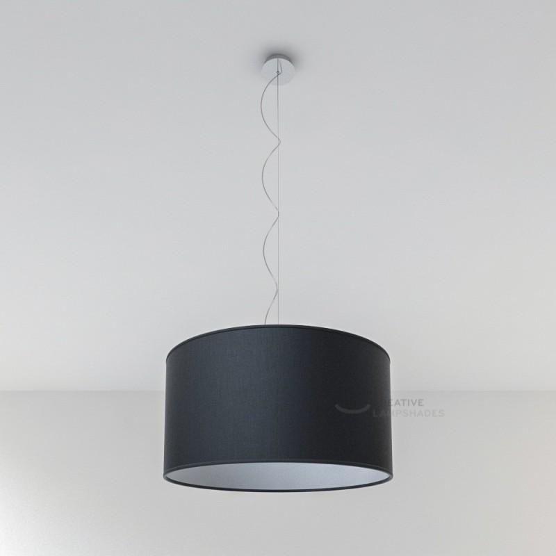 Lampenschirm Zylinder schwarz Leinwand