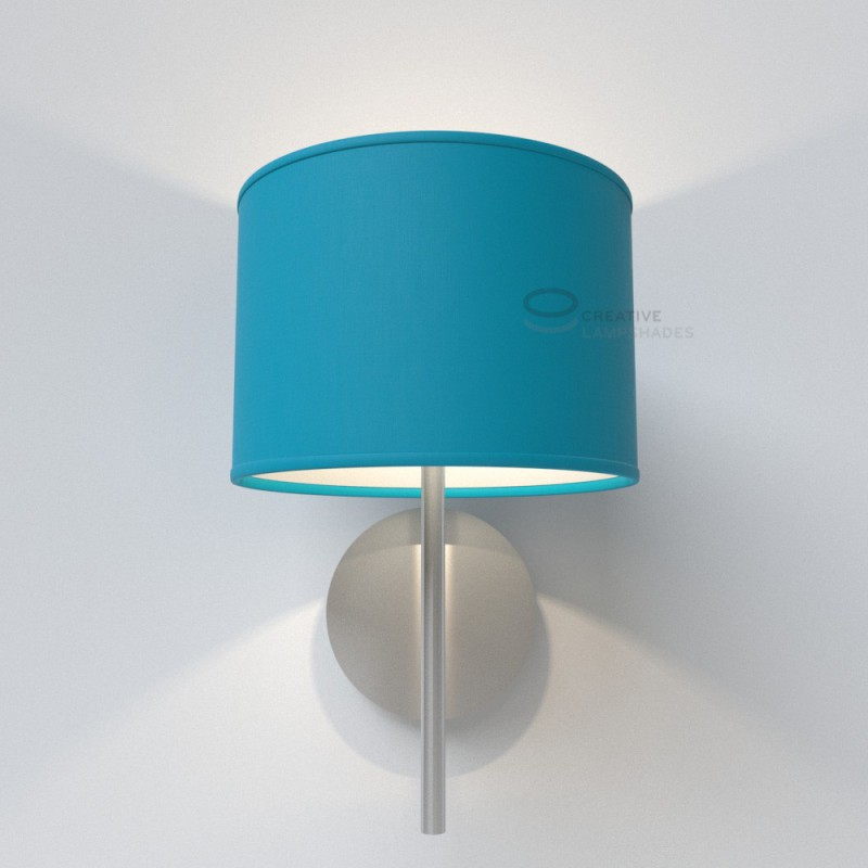 Turquoise Cinette Cylinder Lamp Shade, Blue And Green Lamp Shade