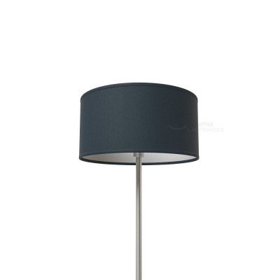 Petrol Blue Cinette Cylinder Lamp Shade