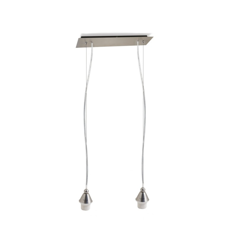 Rectangular pendant double lamp E 27 max 60 W