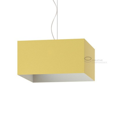 Parallelepiped Lampshade with Pale Yellow Canvas covering