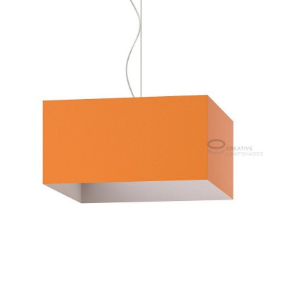 Parallelepiped Lampshade with Mandarine Orange Canvas covering