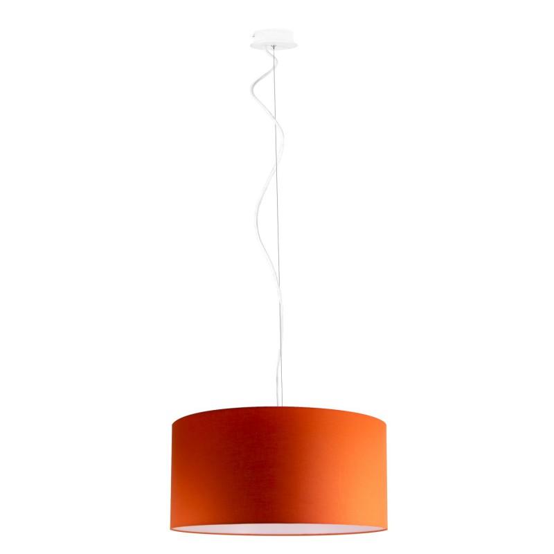 Round white lacquered pendant single lamp E 27 max 60 W