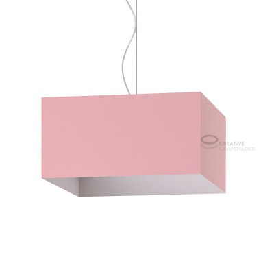 Parallelepiped Lampshade with Pink Canvas covering