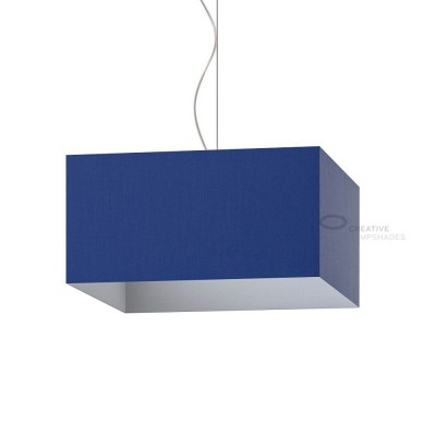 Parallelepiped Lampshade with Blue Canvas covering