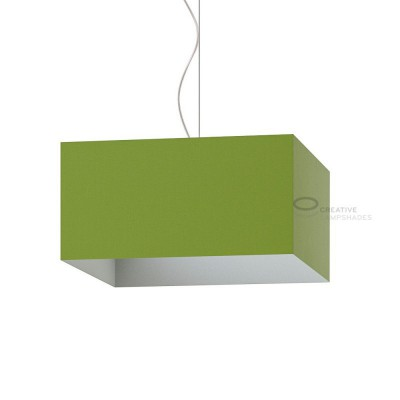 Parallelepiped Lampshade with Olive Green Canvas covering
