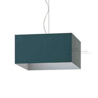 Parallelepiped Lampshade with Dark Green Canvas covering
