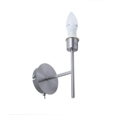 Applique Simply ronde en métal satiné avec interrupteur E 14 Max 40 W