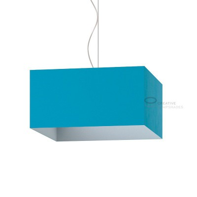 Parallelepiped Lampshade with Turquoise Cinette covering