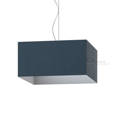 Parallelepiped Lampshade with Petrol Blue Cinette covering