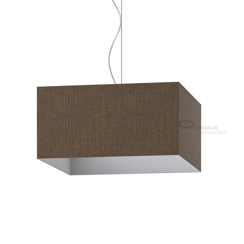 Parallelepiped Lampshade with Brown Camelot covering