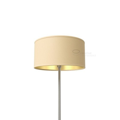 Hazel Canvas With Golden Inward Cylinder Lamp Shade