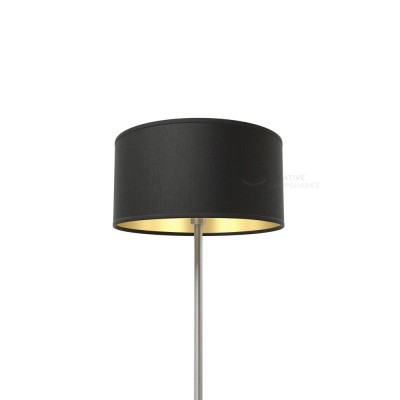 Black Canvas With Golden Inward Cylinder Lamp Shade
