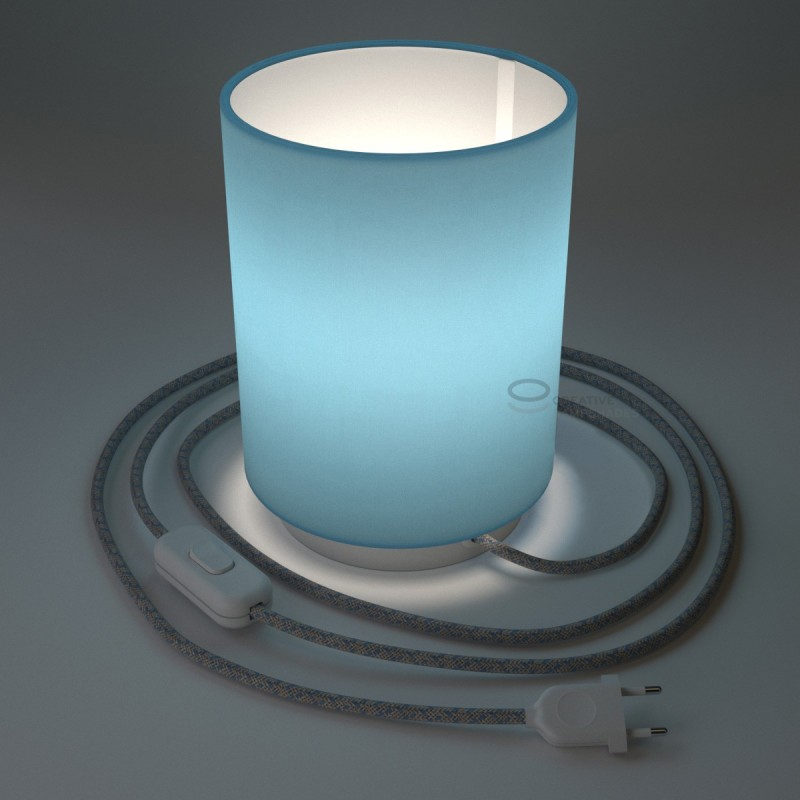 Posaluce with Blue Canvas Cylinder lampshade, white metal, with textile cable, in-line switch and 2 poles plug