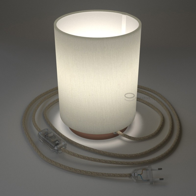Posaluce with White Raw Cotton Cylinder lampshade, coppered metal, with textile cable, in-line switch and 2 poles plug