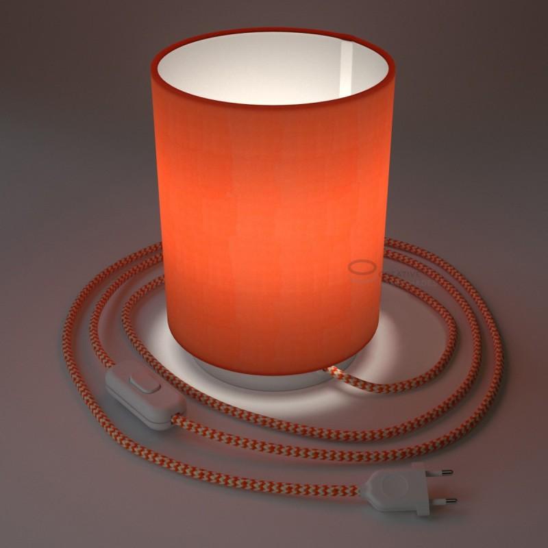 Posaluce in metallo bianco con paralume Cilindro Cinette Aragosta, cavo tessile, interruttore e spina a due poli