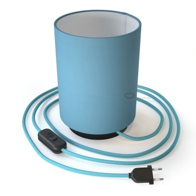 Posaluce with Blue Canvas Cylinder lampshade, black metal, with textile cable, in-line switch and 2 poles plug