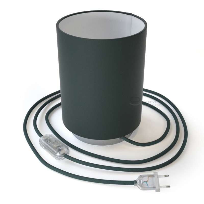 Posaluce mit zylindrischem Lamenschirm in Anthrazitgrau Cinette, chrome Metall mit Textilkabel, Schalter und zweipoligem Stecker