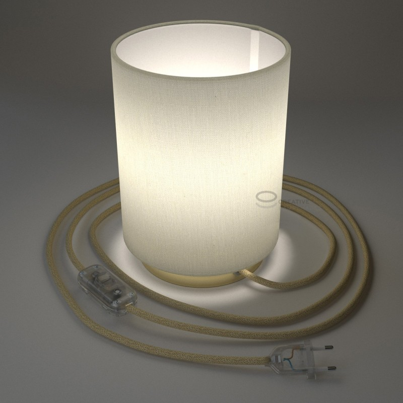 Posaluce with White Raw Cotton Cylinder lampshade, brass metal, with textile cable, in-line switch and 2 poles plug