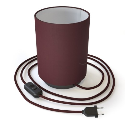 Posaluce with Burgundy Canvas Cylinder lampshade, black pearl metal, with textile cable, in-line switch and 2 poles plug
