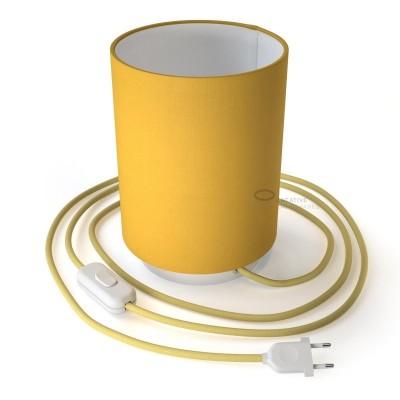 Posaluce mit zylindrischem Lampenschirm Leinwand Schwefelgelb, weißes Metall mit Textilkabel, Schalter und zweipoligem Stecker