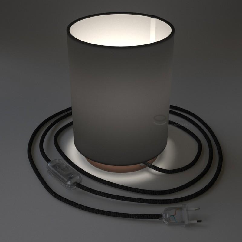 Posaluce mit zylindrischen Lampenschirm in Leinwand Schwarz, kupferfarbenes Metall mit Textilkabel, Schalter und Stecker