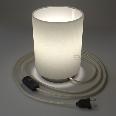 Posaluce with White Raw Cotton Cylinder lampshade, black pearl metal, with textile cable, in-line switch and 2 poles plug