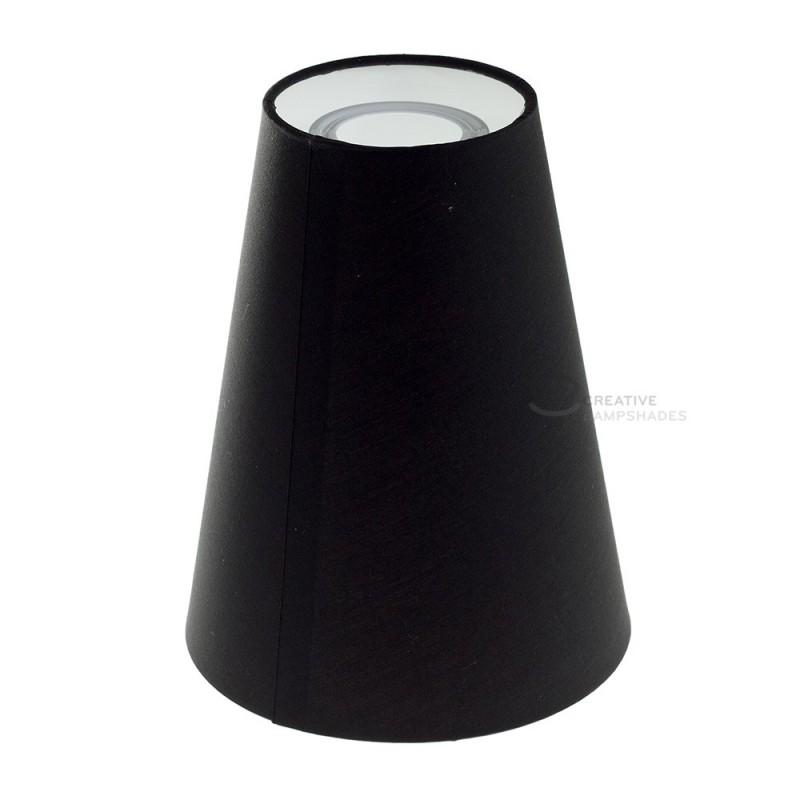 Zylindrischer Lampenschirm, Ø16cm H20cm, Schwarz - 100% Made in Italy