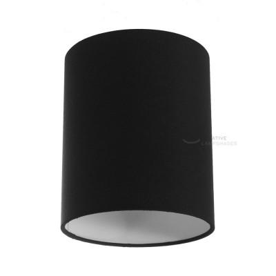 Zylindrischer Lampenschirm in Leinwand Schwarz, Ø 15cm h18cm, Anschluss E27 - 100% Made in Italy