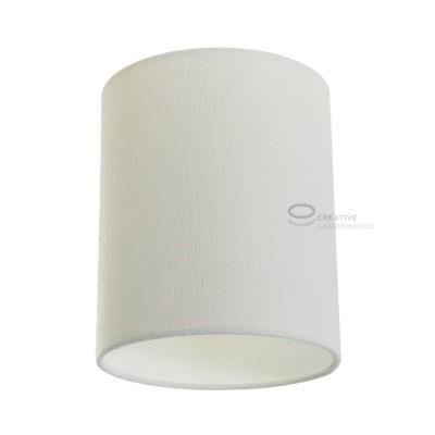 Zylindrischer Lampenschirm in Rauweiß Baumwolle, Ø 15cm h18cm, Anschluss E27 - 100% Made in Italy