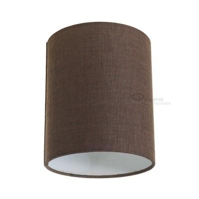 Zylindrischer Lampenschirm in Camelot Braun, Ø 15cm h18cm, Anschluss E27 - 100% Made in Italy