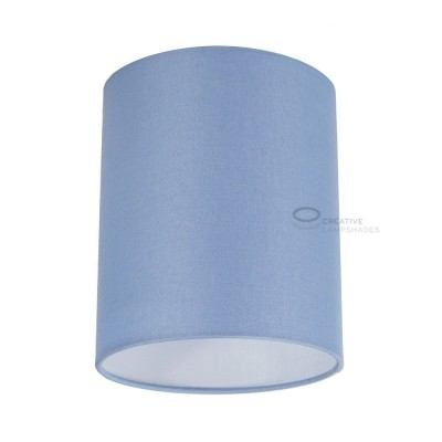 Heavenly Blue Canvas Cylinder Lampshade, Ø 15cm h18cm, E27 fitting - 100% Made in Italy