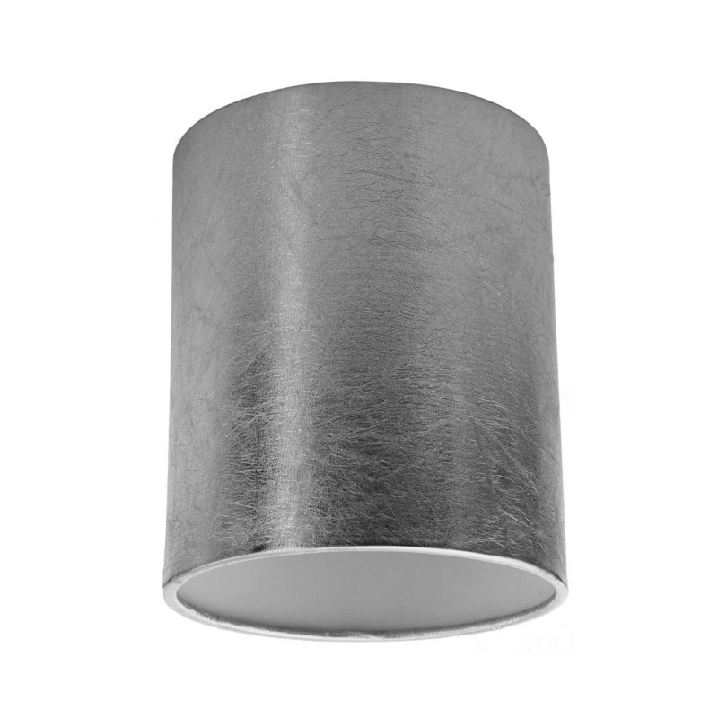 Silver-coloured Cylinder lampshade, Ø 15cm h18cm, E27 fitting - 100% Made in Italy