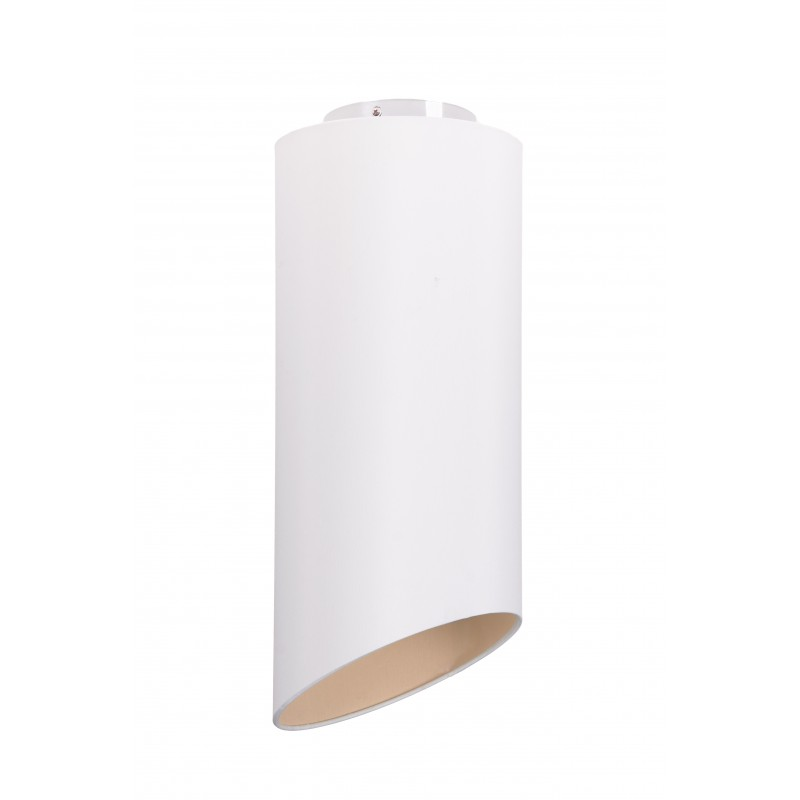 Geometric ceiling light with fabric external sand, taupe interior