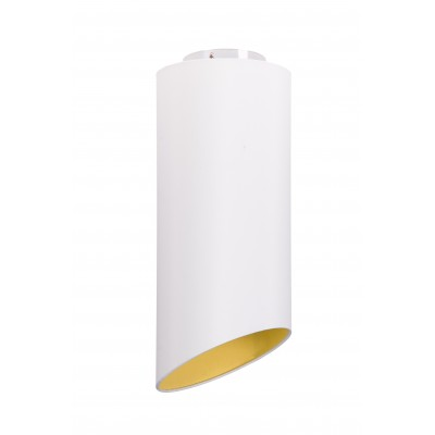 Geometric ceiling light with fabric external sand,  interior golden yellow