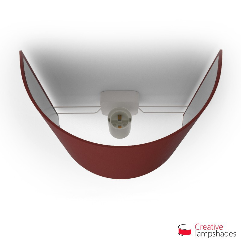Half Cylinder Wall Lampshade Burgundy Canvas covering with  box