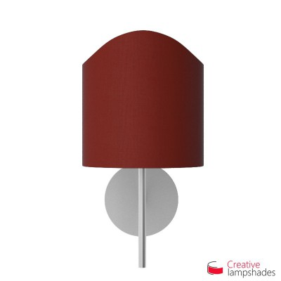 Scallop half cylinder lampshade for wall lamp Burgundy Canvas cover